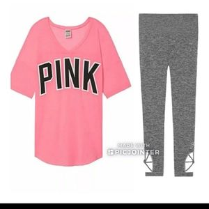 PINK VS TEE AND LEGGINGS SET WITH LOGOBrand new